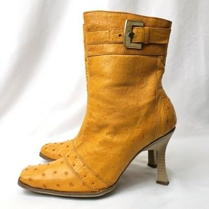 Luciano Rossi Ostrich Skin Heeled Boots